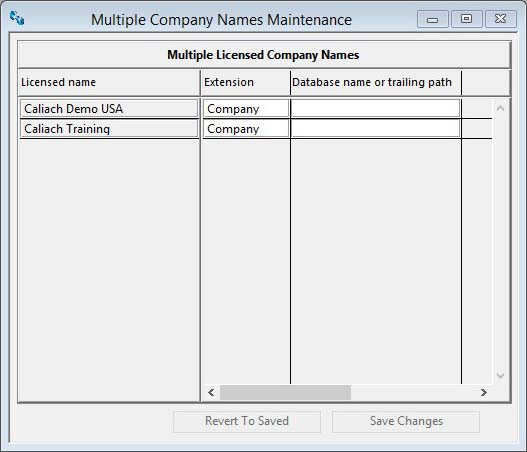 Multiple Company Names Maintenance window