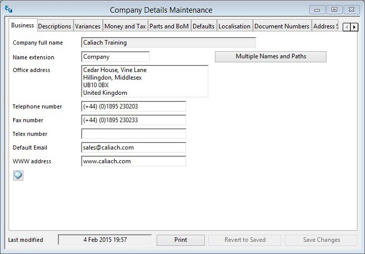 Company Details Maintenance - Business pane