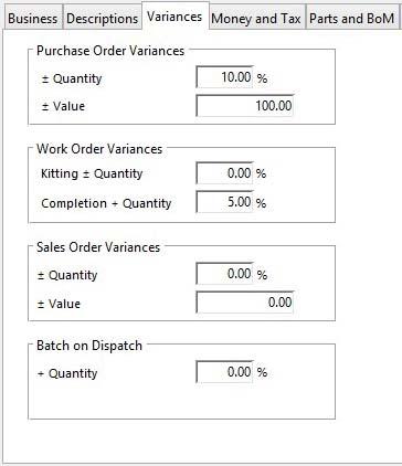 Company Details Maintenance - Variances pane