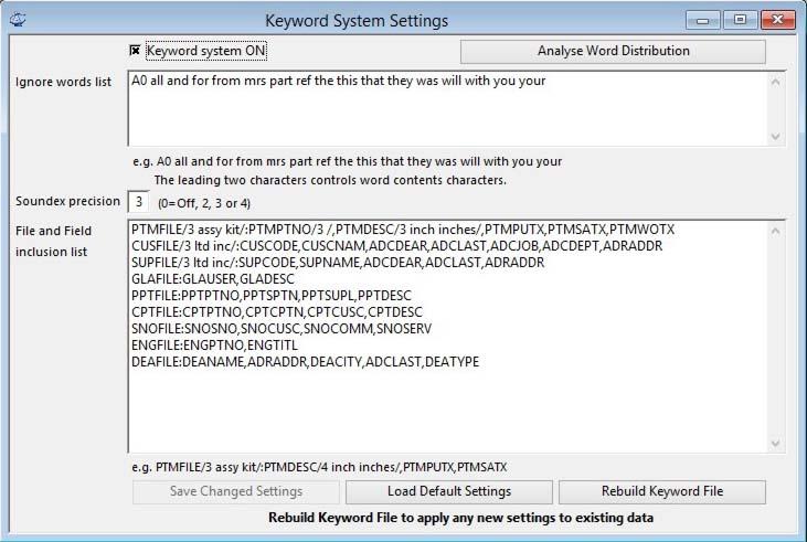 Keyword System Settings