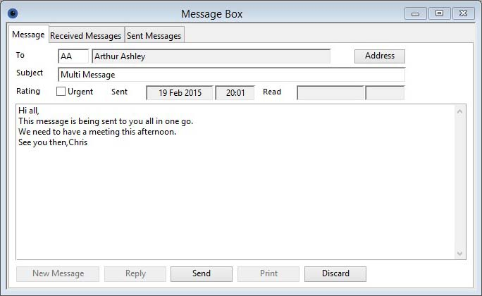 Message Box Message tab