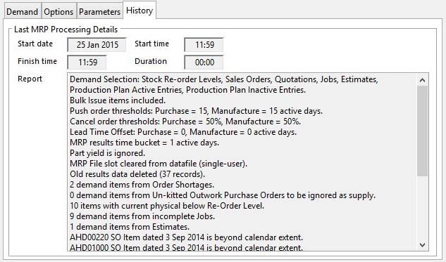 MRP Run Demand Selection and Options - History pane