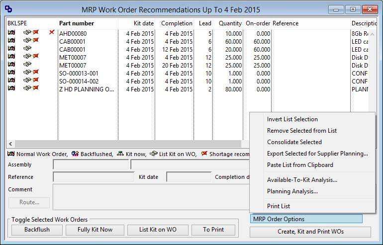 MRP Work Order Recommendations