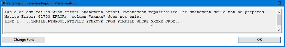 SQL OK error message.