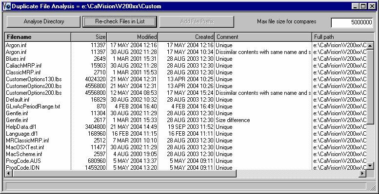 Duplicate File Analysis window