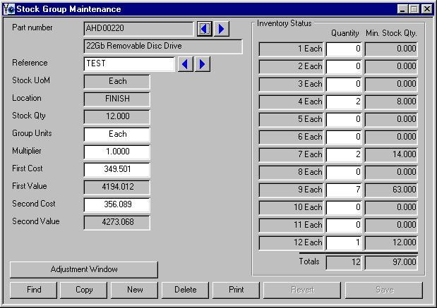 Stock Group Maintenance