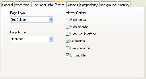 PDF Advanced Options - Viewer tab pane