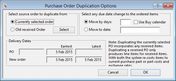 Purchase Order Duplication Options