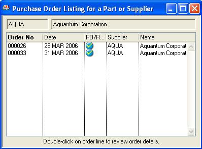 Purchase Order Listing for a Part or Supplier