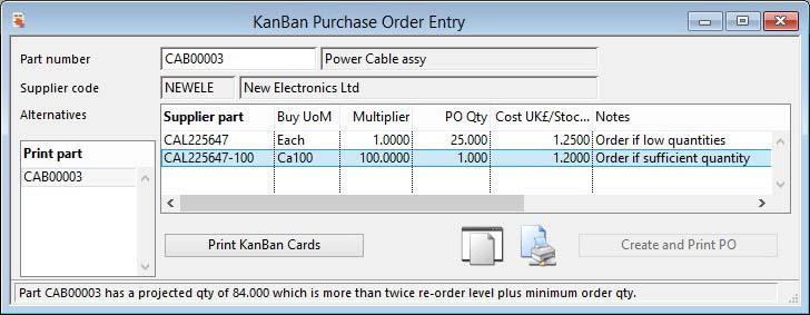 KanBan Purchase Order Entry