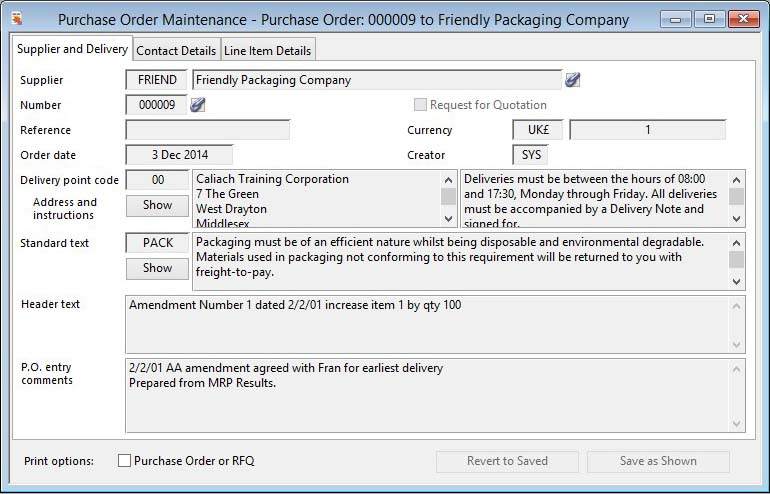 Purchase Order Maintenance - Supplier and Delivery pane