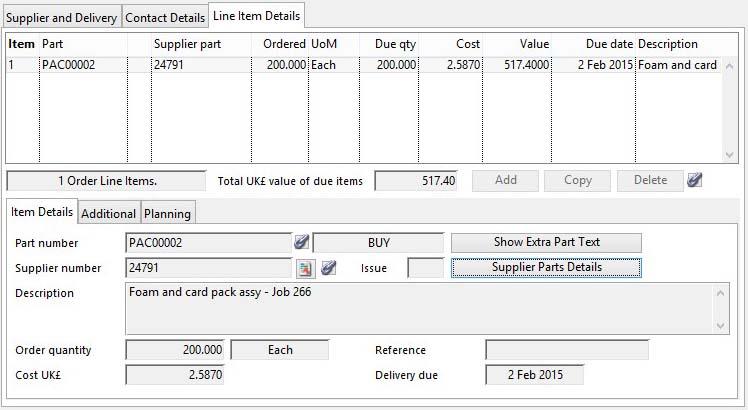 Purchase Order Maintenance - Line Item Details pane
