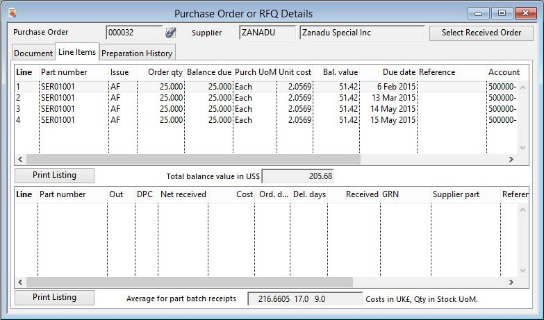 Purchase Order or RFQ Details - Line Items pane