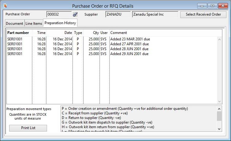 Purchase Order or RFQ Details - Order Preparation pane