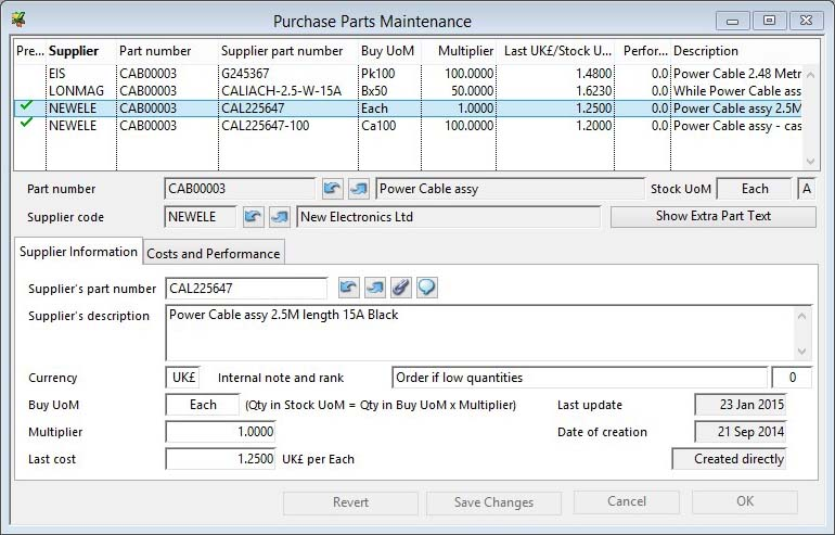 Purchase Parts Maintenance - Supplier Information pane