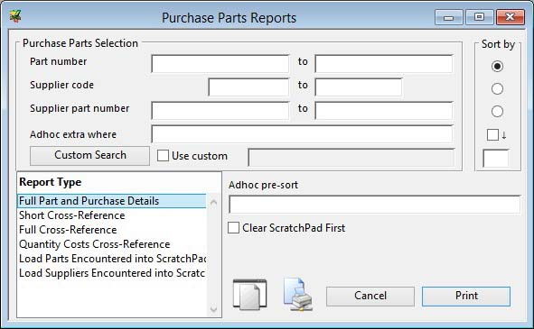 Purchase Parts Reports