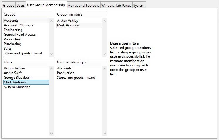 Privileges and Settings - User Group Membership pane