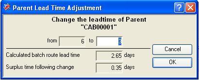 Parent Lead Time Adjustment