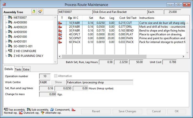Process Route Maintenance - Details pane