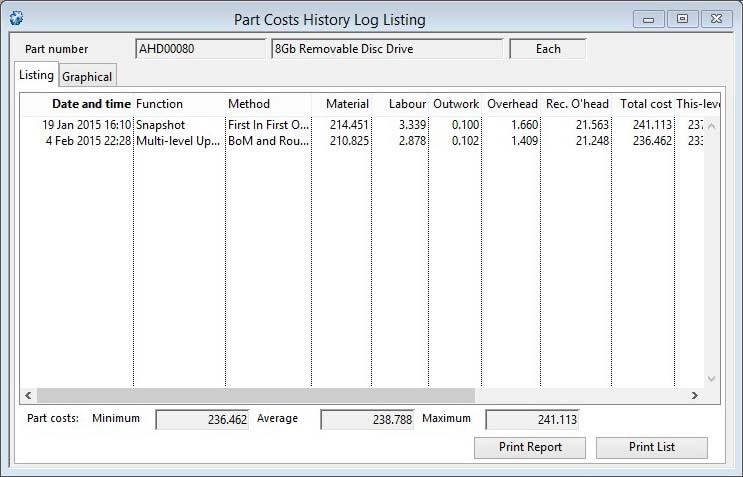 Part Costs History Log Listing window Listing pane