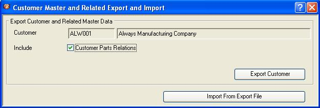 Customer Master and Related Export and Import window