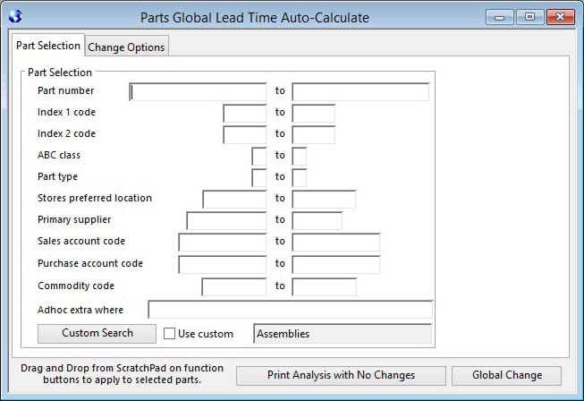 Parts Global Lead Time Auto-Calculate - Part Selection pane