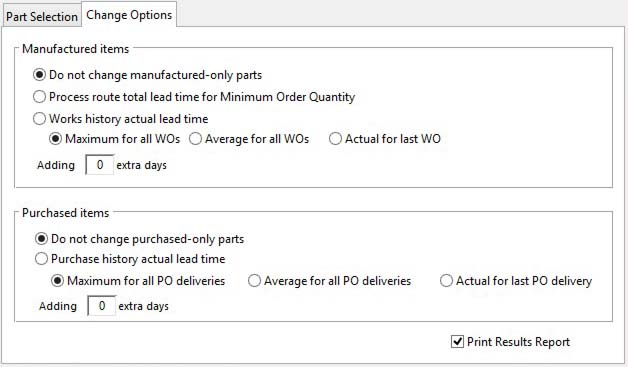 Parts Global Lead Time Auto-Calculate - Change Options pane