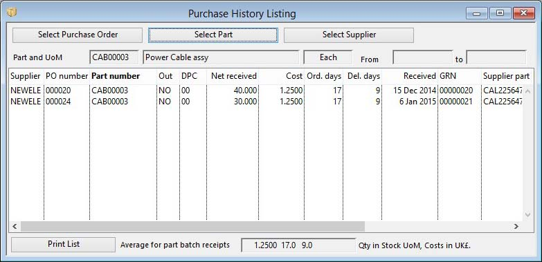 Purchase History List