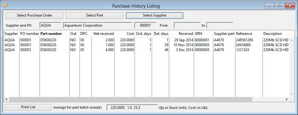 Purchase History Listing