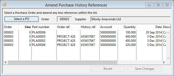 Amend Purchase History References