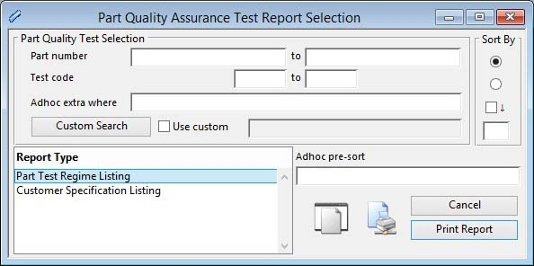 Part Quality Assurance Test Report Selection