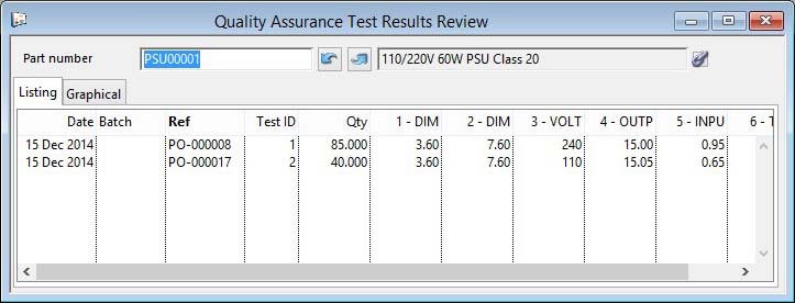 Quality Assurance Test Results Review - Listing pane