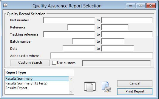 Quality Assurance Report Selection