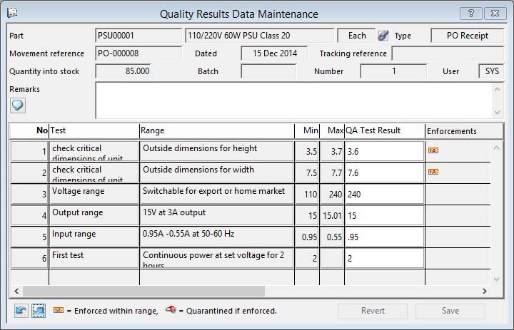 Quality Results Data Maintenance