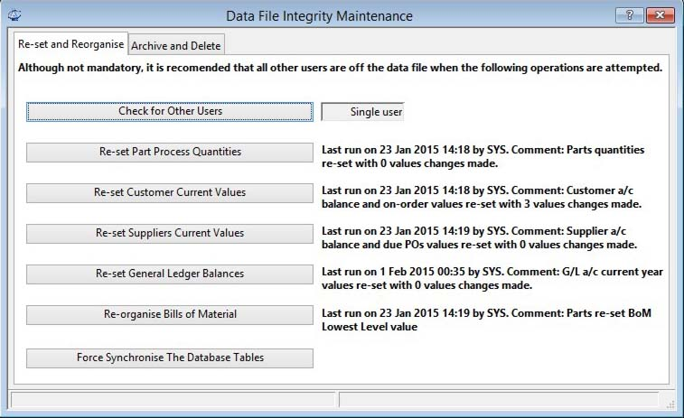 Data File Integrity Maintenance - Re-set and Reorganise pane