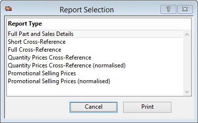 Report Selection window