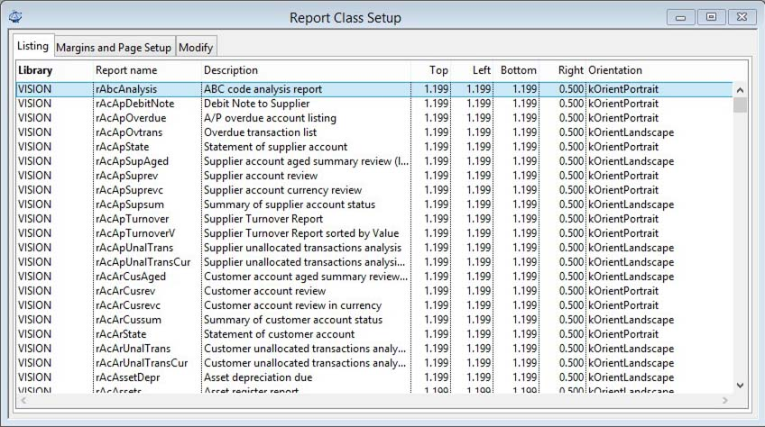 Report Class Setup - Listing pane