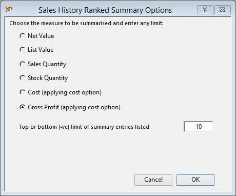 Sales History Ranked Summary Options window