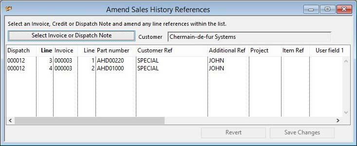 Amend Sales History References