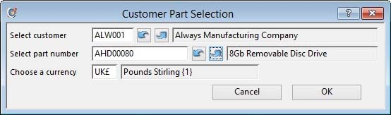 Customer Part Selection