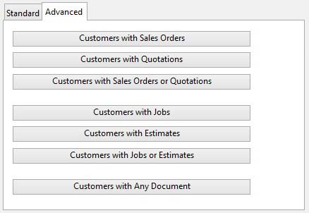 Customers ScratchPad Selection - Advanced tab pane.
