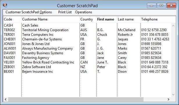 Customer ScratchPad