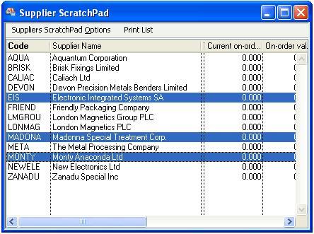 Supplier ScratchPad