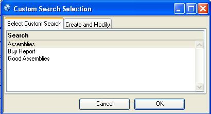 Custom Search Selection - Select tab pane