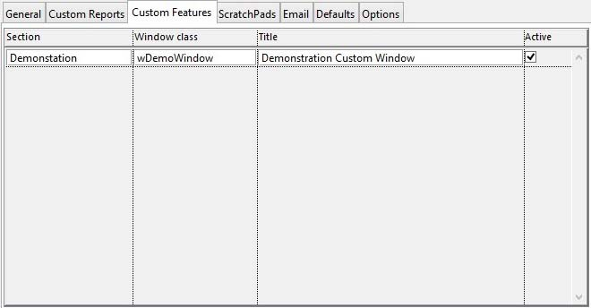 Settings Maintenance Subwindow - Custom Features pane
