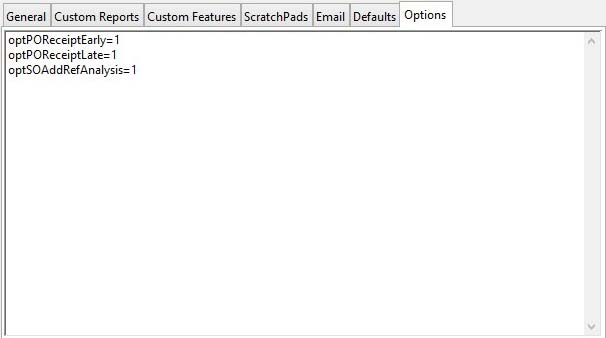 Settings Maintenance Subwindow - Options pane