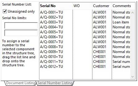 Product Serial Number Maintenance - Assignements pane with Serial Number Listing pane