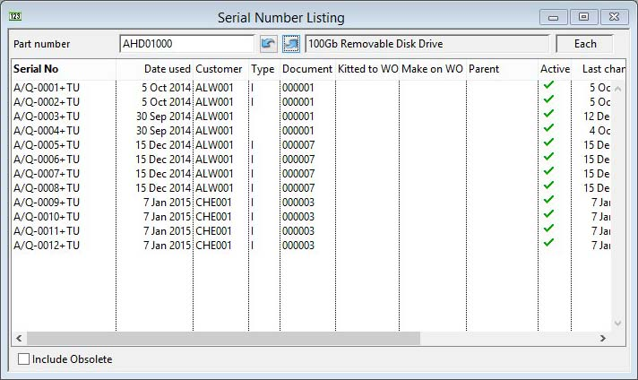 Serial Number Listing