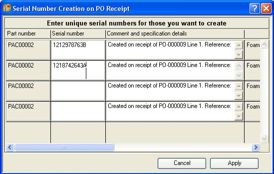 Serial Number Creation on PO Receipt