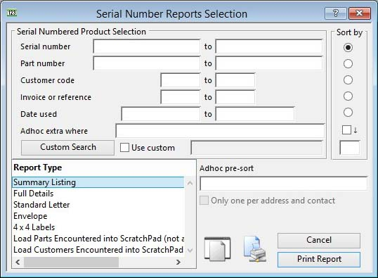 Serial Number Reports Selection